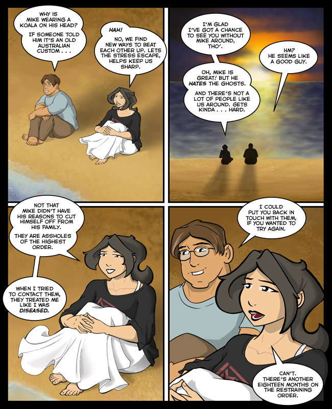 Comic for 17 July 2014: Hope has reverse leprosy, where anyone who comes near her tends to lose limbs.