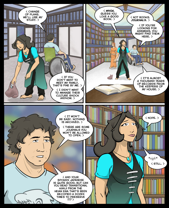 Comic for 08 June 2015: Let's draw the library, said Past Me. How hard could drawing all of those books be? asked Past Me.