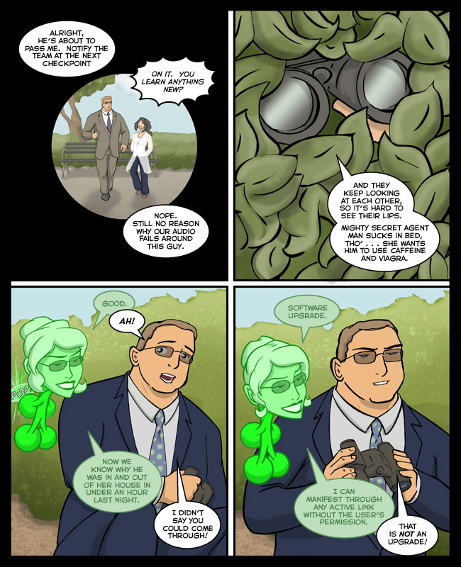 Comic for 08 October 2006: That man skulking in the bushes in a suit is not suspicious!  Not in the slightest!