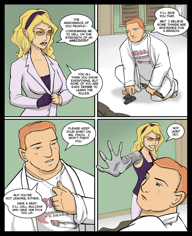 Comic for 06 February 2012: Clarice: More than just a set of pretty bosoms and forty pounds of surgical-grade stainless steel.