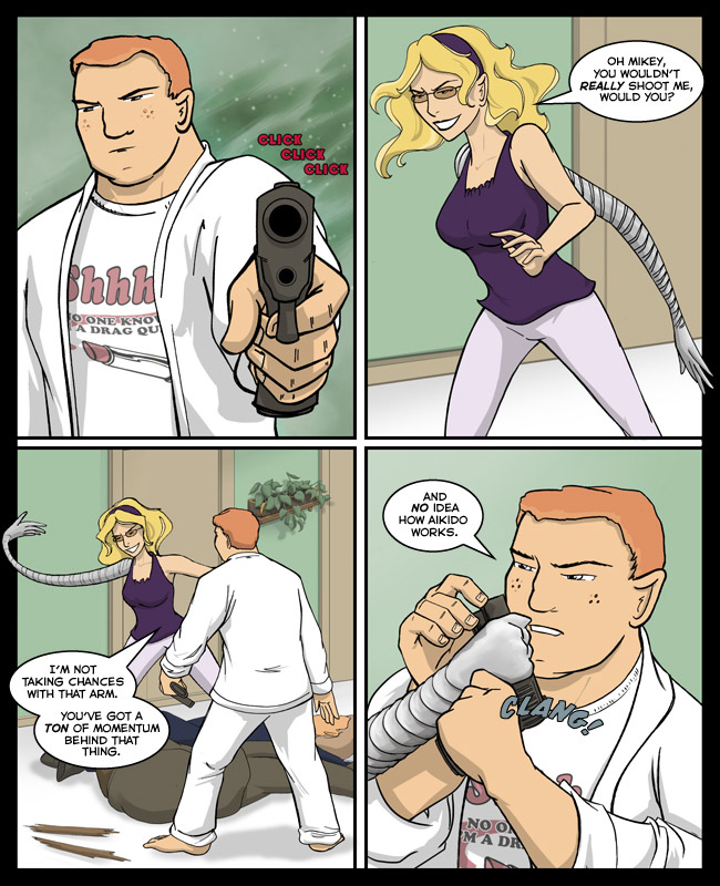 Comic for 09 February 2012: I don't know what the hole on the bottom does but when you draw guns you MUST get the details right or the Internet gets mad.